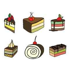 Set of sketch cake vector image vector image