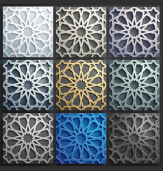 3d islamic pattern set abstract 3d vector image