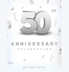 50 years silver number anniversary celebration vector image