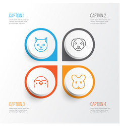 Animal icons set collection of puppy rat kitten vector