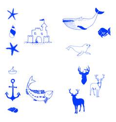 animal icons set outline set of 25 animal icons vector image