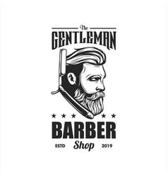 awesome vintage barber logo design vector image