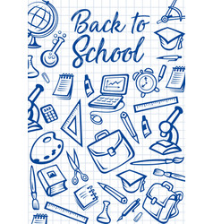 back to school education supplies on notebook vector image