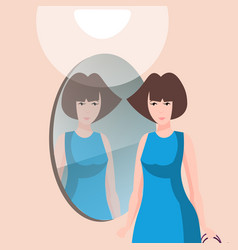 Beautiful woman character with mirror vector