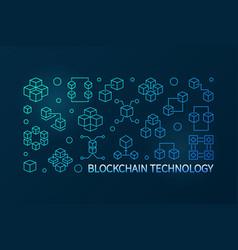 blockchain technology blue line horizontal vector image