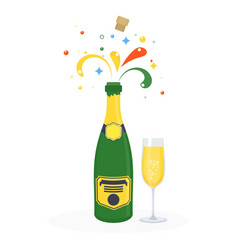 bottle of champagne explosion with glass vector image