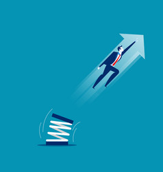 Businessman high jump with springboard concept vector