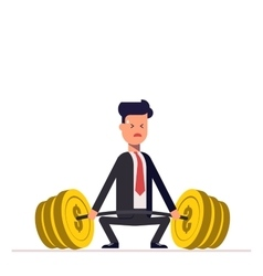 Businessman or manager can not lift a heavy vector