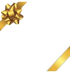 Card with white background and gold ribbon vector image
