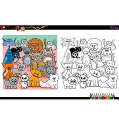 cat characters coloring page vector image