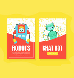 chat bot robots landing page templates set vector image