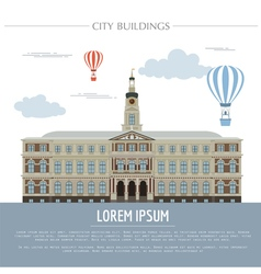City buildings graphic template Town hall Rigas vector
