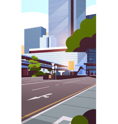 city road street skyline with modern skyscrapers vector image
