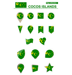 Cocos islands flag collection big set for design vector