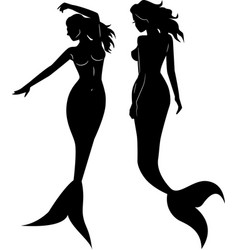 collection mermaid silhouettes vector image