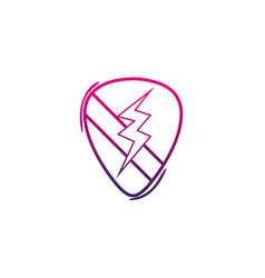 color line rock emblem with thunder symbol design vector image vector image