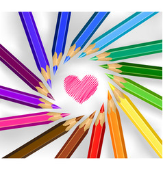 Colored pencils in a circle with heart vector