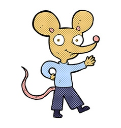 Comic cartoon waving mouse vector
