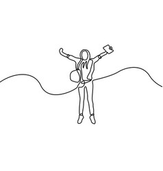 continuous line happy student girl jumping vector image