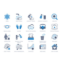 coronavirus virus prevention flat icons vector image