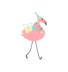 cute flamingo wearing party hat walking with vector image