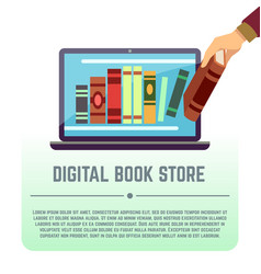 electronic library online documents digital book vector image vector image