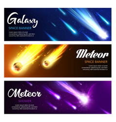 falling meteors comets and stars in night sky vector image