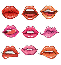 female lips set on sweet passion vector image