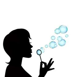 female silhouette and soap bubbles vector image