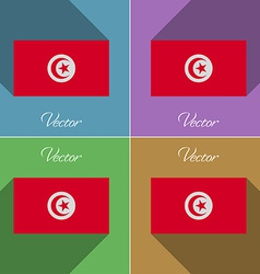 Flags Tunisia Set of colors flat design and long vector image