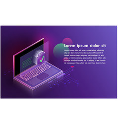 Futuristic smartsecurity notebook controls vector