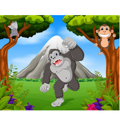 gorilla and monkey in the jungle vector image