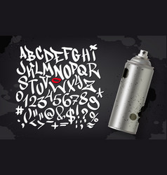 Hand written graffiti font alphabet set on vector