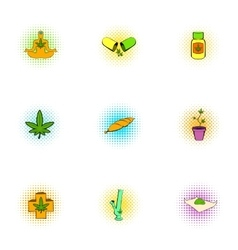 Hashish icons set pop-art style vector image