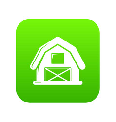 Horse barn icon green vector