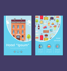 Hotel and services info internet page template vector