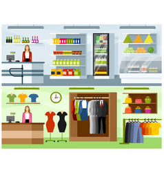 Interiors of grocery and clothing store vector