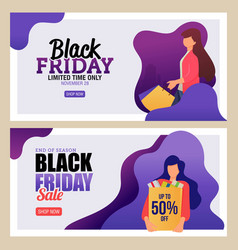 landing page black friday sale banner vector image