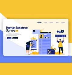 landing page flat design human resource survey vector image