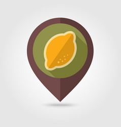 Lemon flat pin map icon tropical fruit vector