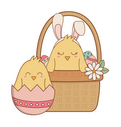 Little chicks in basket easter characters vector