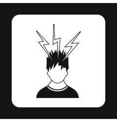 Man and lightnings near head icon simple style vector