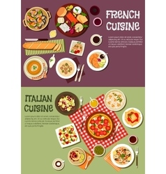 Mediterranean cuisine with french italian dishes vector