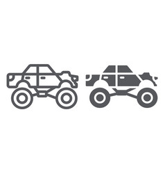 monster truck line and glyph icon transport and vector image