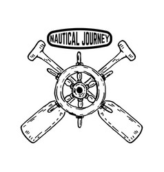 nautical journey emblem with ships steering wheel vector image