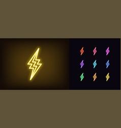 neon thunderbolt icon glowing neon lightning bolt vector image