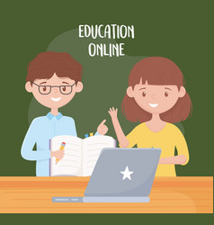 Online education teachers with book pen and vector