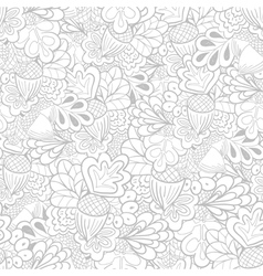 Outline oak elements seamless pattern vector image