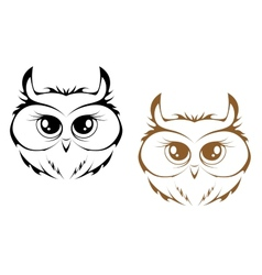 Owl heads vector
