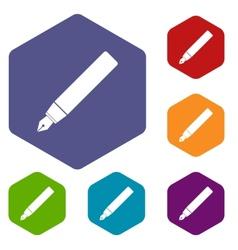 Pen rhombus icons vector image